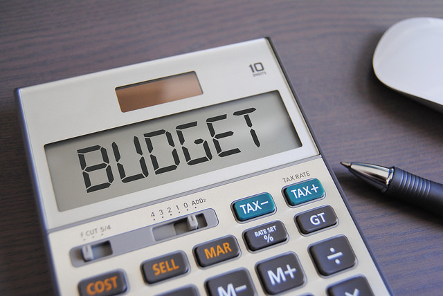 Picture of a calculator saying budget because you are a budget concious hammock camper